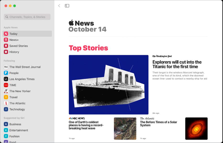 La fenêtre AppleNews avec la barre latérale à gauche et «Top Stories» à droite.