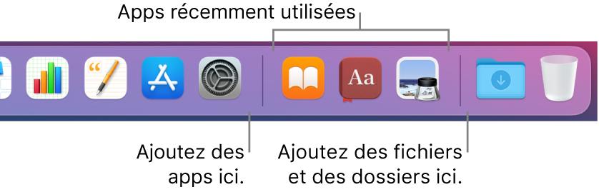 L'extrémité droite du Dock affichant les lignes de séparation avant et après la section des apps récemment utilisées.