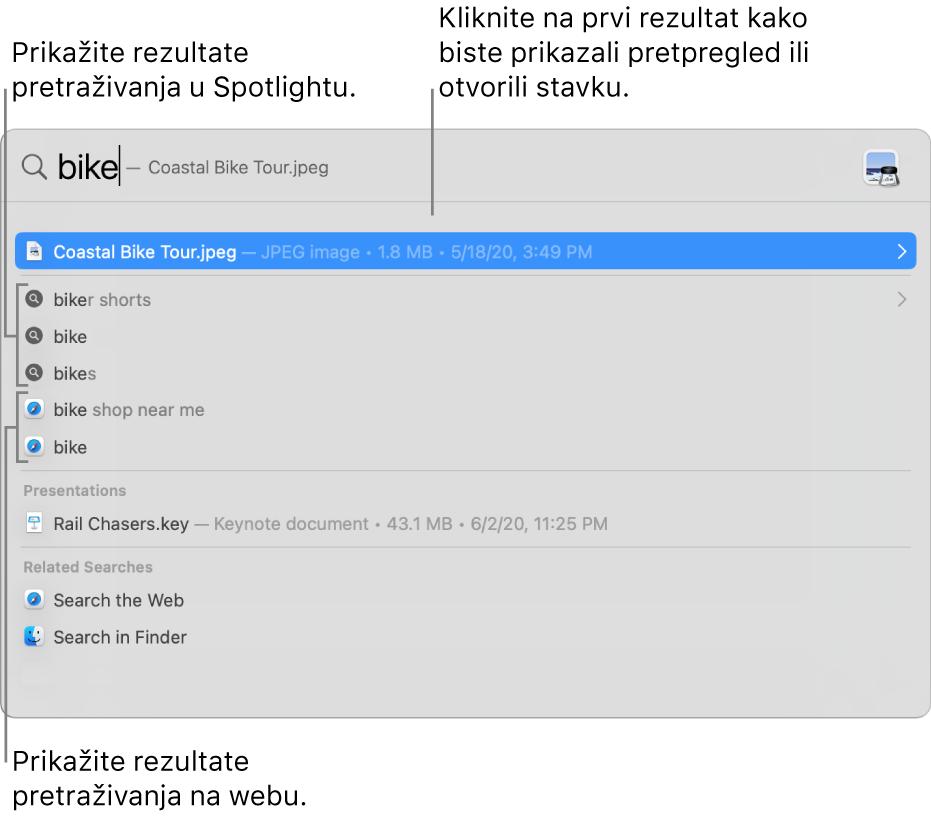 Prozor aplikacije Spotlight s prikazom teksta za pretraživanje u polju za pretraživanje pri vrhu prozora, a ispod se nalaze rezultati.
