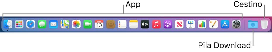 Il Dock con le icone delle app, la pila Download e il Cestino.