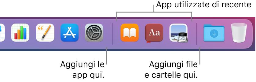 L'estremità destra del Dock che mostra le linee separatrici che precedono e seguono la sezione delle app usate di recente.