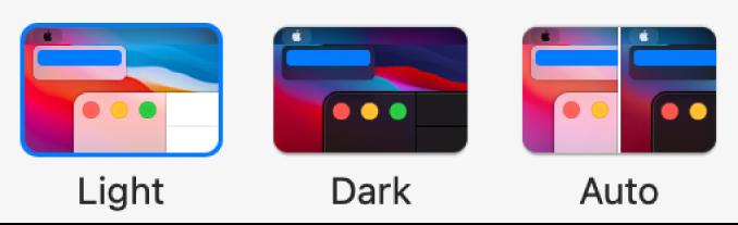 Voorbeelden van de opties 'Licht', 'Donker' en 'Automatisch' (van links naar rechts) in het voorkeurenpaneel 'Algemeen'.