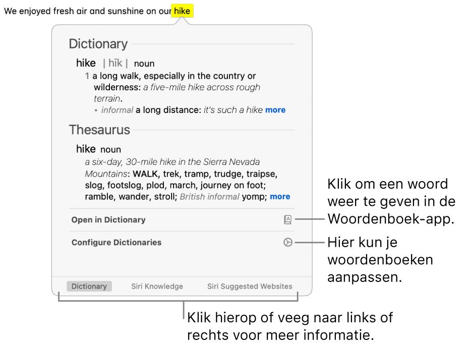 Het opzoekvenster met Woordenboek- en Thesaurus-definities voor een woord.