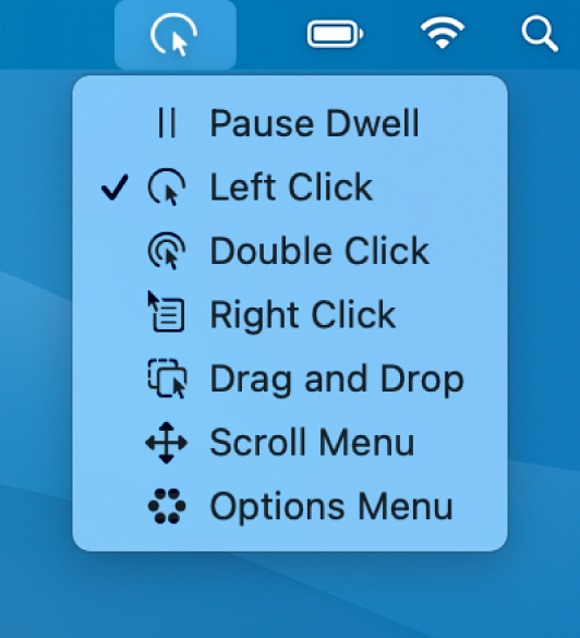 De menuopties van het statusmenu voor stilhouden, met van boven naar beneden: 'Pauzeer stilhouden', 'Klik links', 'Klik dubbel', 'Klik rechts', 'Sleep en zet neer', 'Scrolmenu' en 'Optiemenu'.