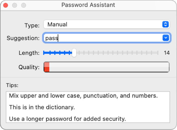 Het venster van Wachtwoordassistent, met opties voor het aanmaken van een wachtwoord.