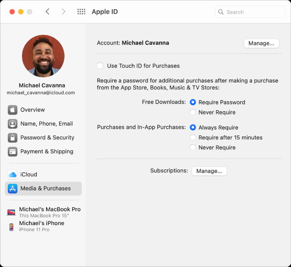 Inställningspanelen Apple‑ID med ett sidofält med olika typer av kontoalternativ som du kan använda och inställningspanelen Medier och köp för ett befintligt konto.