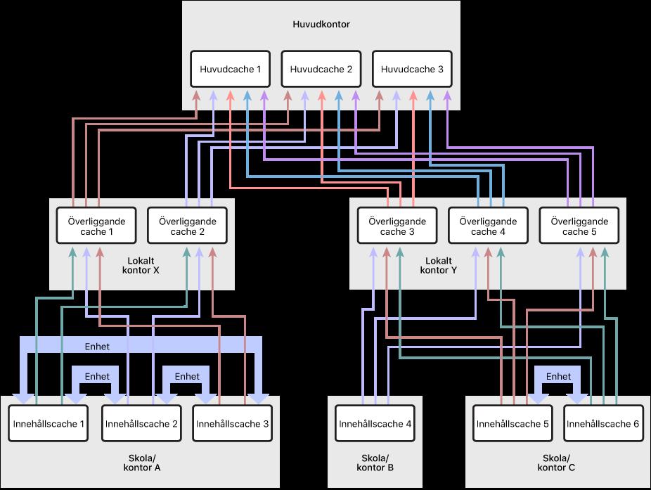 Ett nätverk med flera innehållscacher som är ordnat i en hierarki i tre nivåer med innehållscacher på alla tre nivåerna. Endast på den lägsta hierarkinivån har jämbördiga innehållscacher definierats för de olika innehållscacherna.