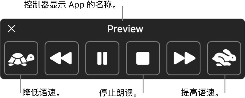 Mac 朗读所选文本时会显示的屏幕控制器。控制器提供了六个按钮,从左到右依次可让您降低语速,向后跳一个句子,播放或暂停朗读,停止朗读,向前跳一个句子,以及提高语速。App 名称显示在控制器顶部。