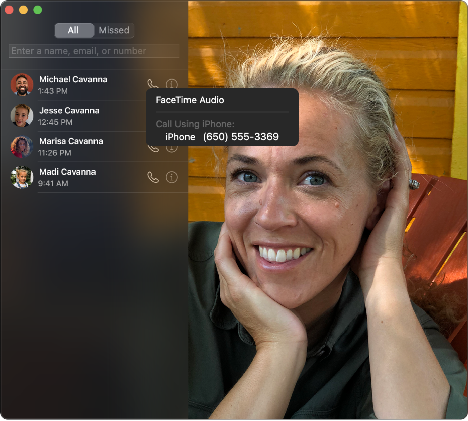 Το παράθυρο του FaceTime όπου εμφανίζεται ο τρόπος πραγματοποίησης μιας ηχητικής κλήσης ή μιας τηλεφωνικής κλήσης FaceTime.