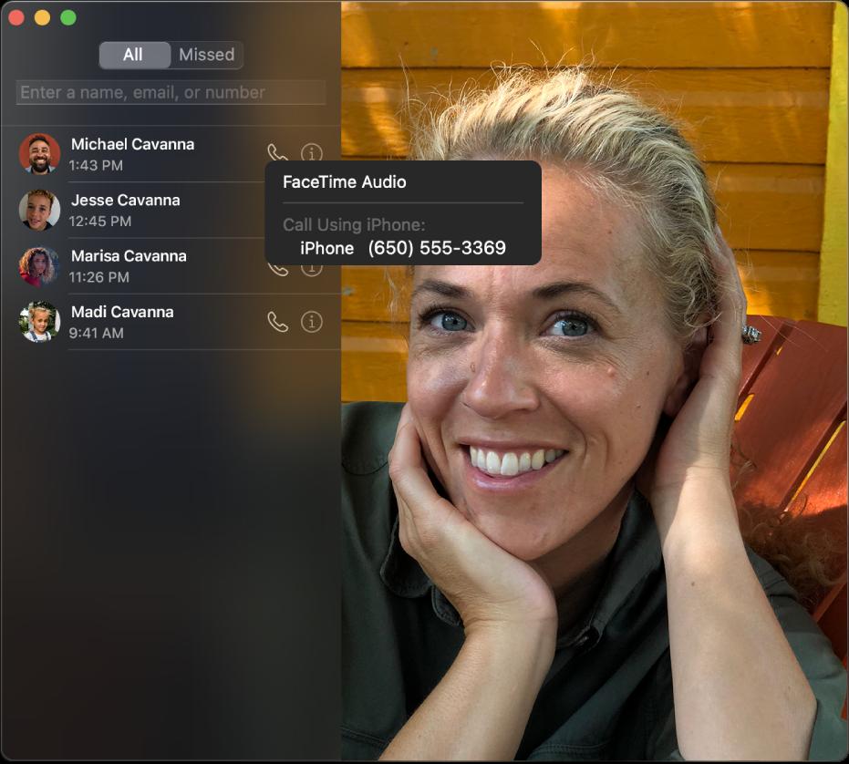Окно FaceTime, в котором показаны способы совершения аудиовызова FaceTime или телефонного вызова.