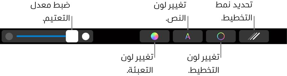 TouchBar في MacBookPro به عناصر التحكم الخاصة بضبط تعتيم الشكل وتغيير تعبئة اللون وتغيير لون النص وتغيير لون التخطيط وتطبيق أنماط التخطيط.