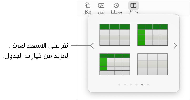 جزء إضافة جدول مع سهمي التنقل على اليمين واليسار.