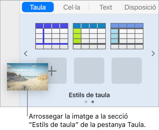 Arrossegar una imatge als estils de taula per crear un nou estil.