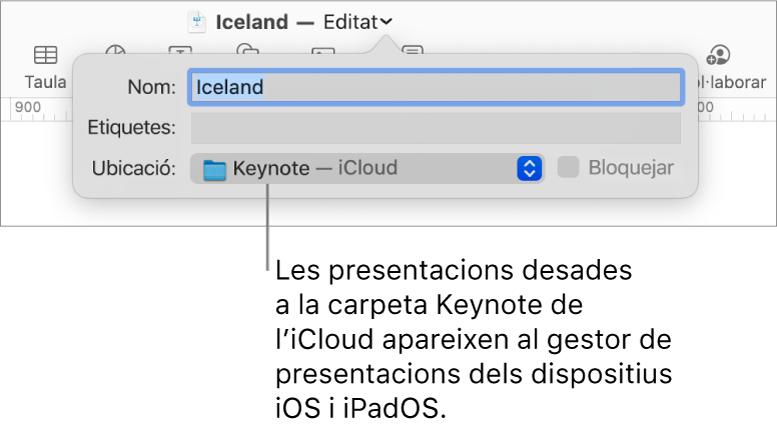 Diàleg Desar d'una presentació amb el Keynote (l'iCloud al menú desplegable Ubicació).