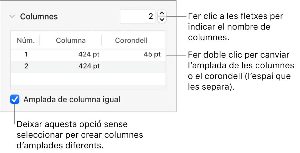 Controls de la secció de columnes per canviar el nombre de columnes i l'amplada de cada columna.
