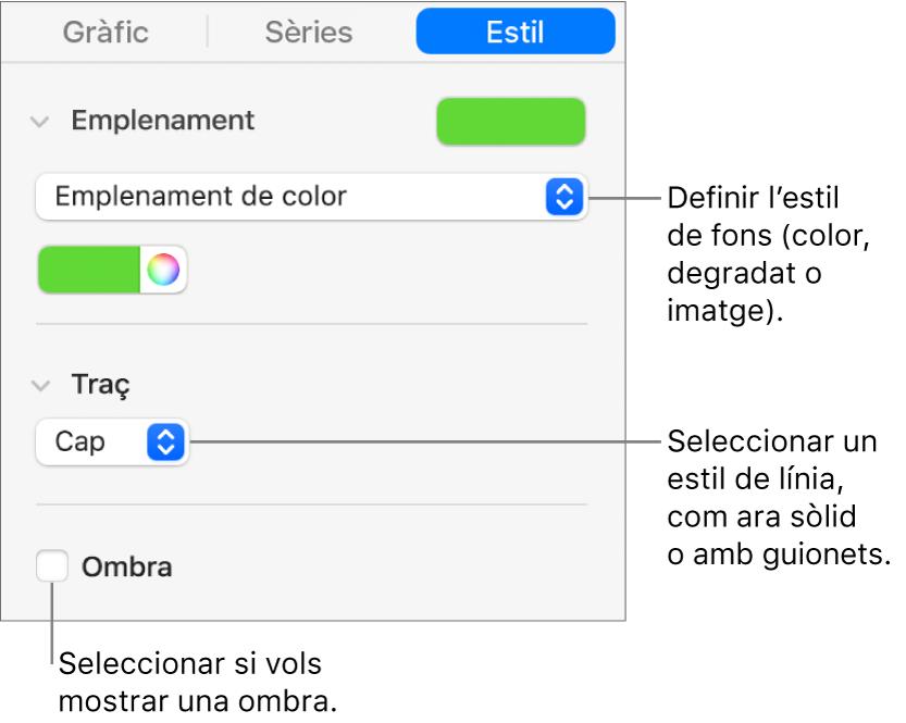 Controls per canviar l'aspecte d'una sèrie de dades.