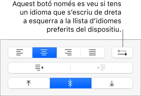 """El botó """"Direcció del paràgraf"""" als controls d'alineació de text."""