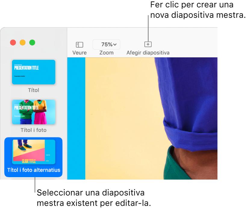 """Una diapositiva mestra mostrada al llenç de la diapositiva, amb el botó """"Afegir diapositiva"""" al damunt, a la barra d'eines."""