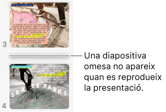 Navegador de diapositives amb una diapositiva omesa que es mostra com una línia horitzontal.