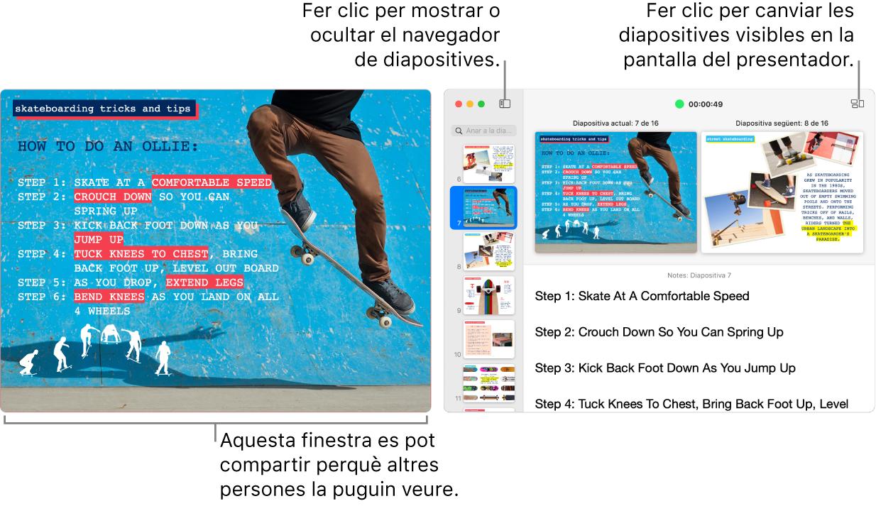 Presentació del Keynote que es mostra en una finestra, amb la pantalla del presentador en una segona finestra que conté el navegador de diapositives, les notes del presentador i la previsualització de diapositiva.
