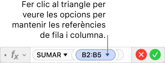 L'editor de fórmules, que mostra com mantenir la fila i la columna d'una referència d'interval.