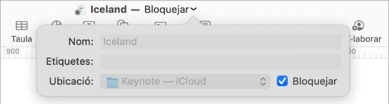 Finestra desplegable per bloquejar o desbloquejar una presentació.