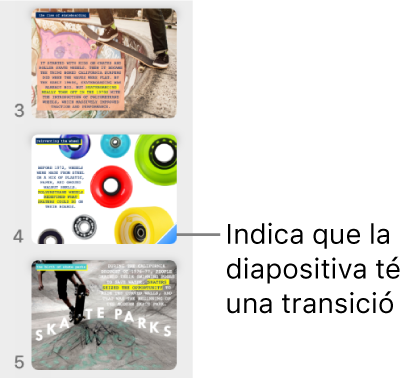 Un triangle blau en una diapositiva indica que aquesta té una transició.