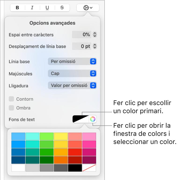 Controls per seleccionar un color de fons del text.