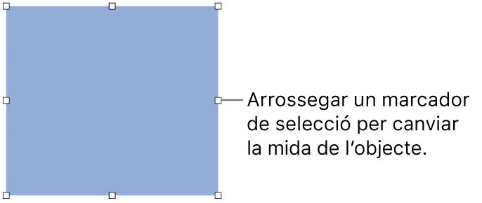 Un objecte amb quadrats blancs a la vora per canviar la mida de l'objecte.