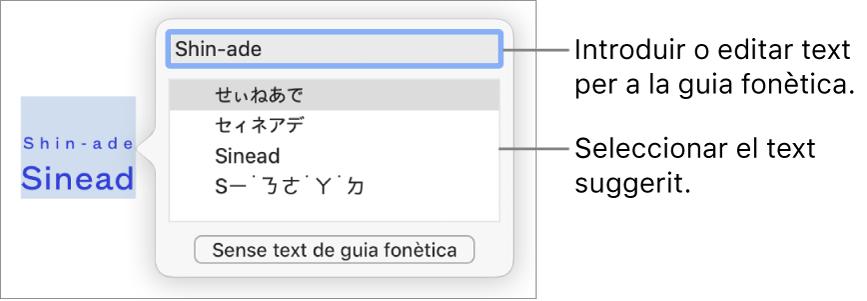 La guia fonètica, oberta per a una paraula, amb llegendes per al camp de text i el text suggerit.