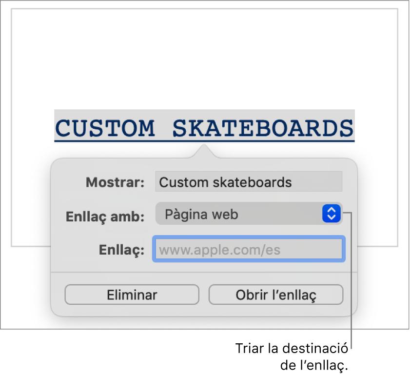 """La configuració de l'enllaç amb els camps Mostrar, i Enllaç i el menú desplegable """"Enllaçar a"""" (amb l'opció """"Pàgina web"""" seleccionada). Els botons Eliminar i """"Obrir l'enllaç"""" a la part inferior dels controls."""