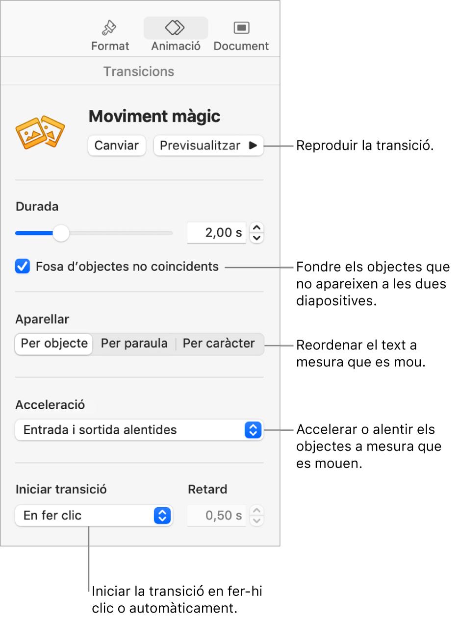 """Els controls Transició """"Moviment màgic"""" a la secció Transicions de la barra lateral Animació."""