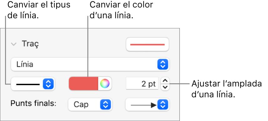 Els controls de traç per ajustar els punts finals, el gruix de la línia i el color.