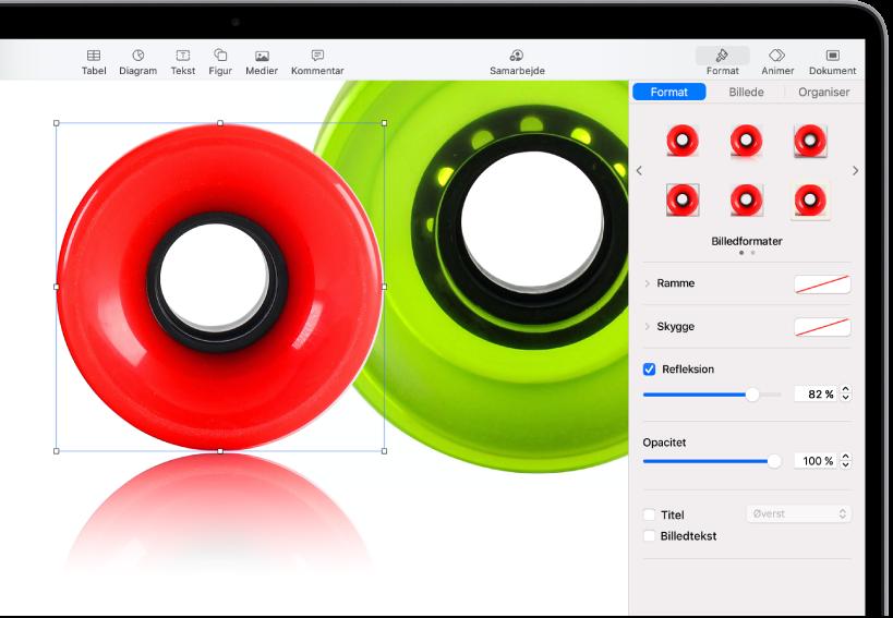 Betjeningsmulighederne til Format, der bruges til at ændre det valgte billedes størrelse og udseende. Knapperne Format, Billede og Organiser vises vandret over toppen af betjeningsmulighederne.