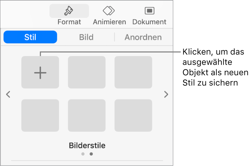 """Der Abschnitt """"Stil"""" der Taste """"Format"""" mit einem Textfeldstil, einer Taste """"Stil erstellen"""" rechts daneben und vier leeren Stilplatzhaltern."""