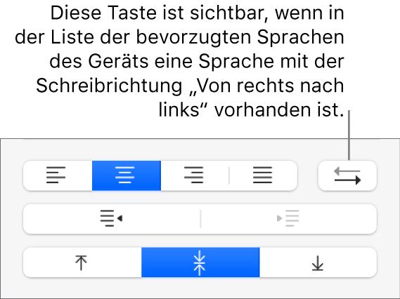 """Taste für Absatzrichtung im Abschnitt """"Ausrichtung"""" der Seitenleiste """"Format"""""""
