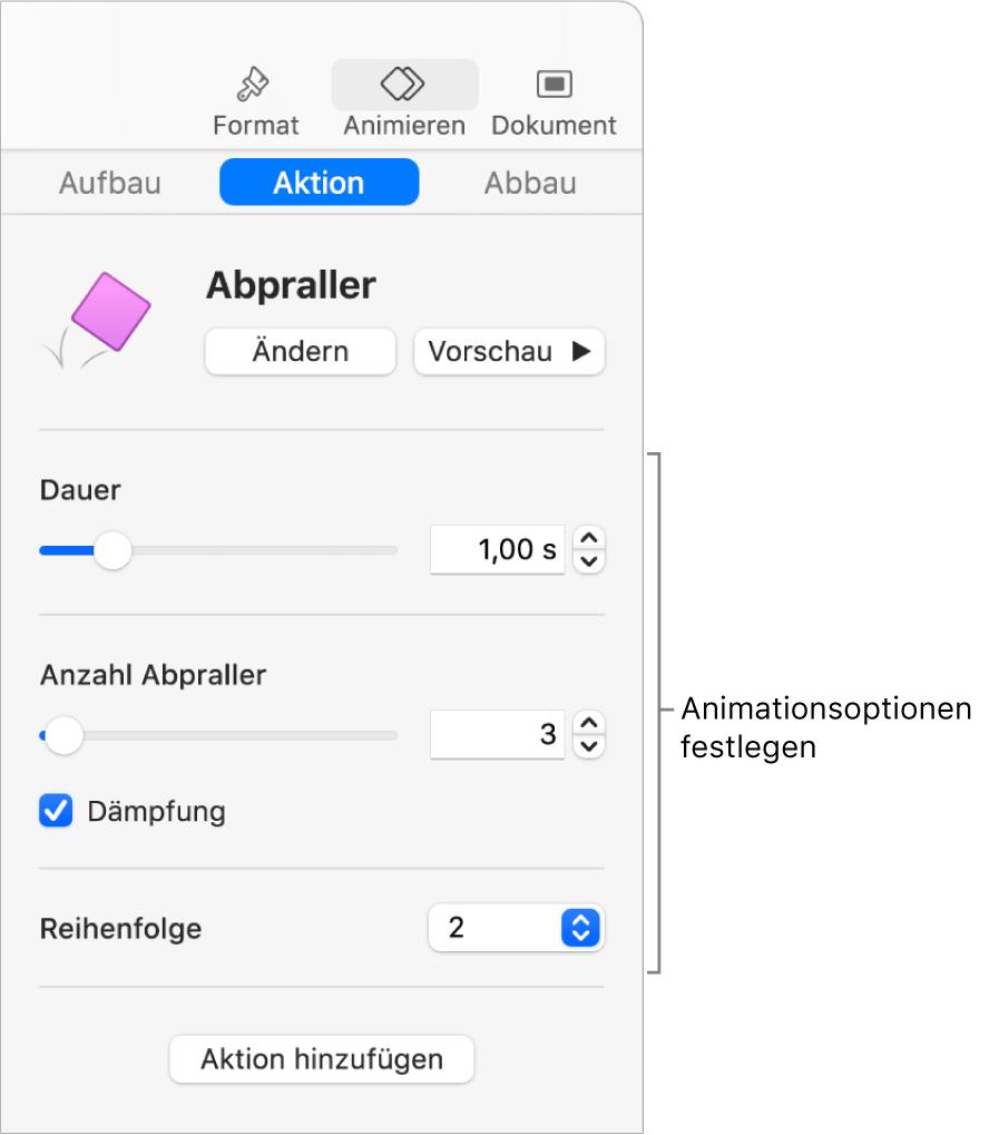 Steuerelemente für Aktionen im Bereich für Animationen in der Seitenleiste