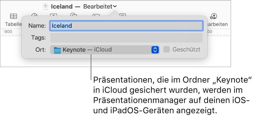 """Das Fenster """"Sichern"""" für eine Präsentation mit Keynote – iCloud im Einblendmenü """"Ort"""""""