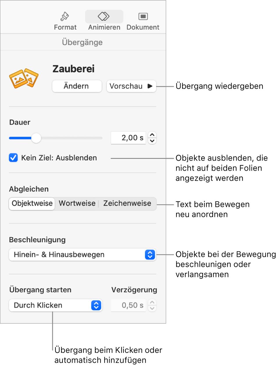 """Steuerelemente für Zauberei im Bereich """"Übergänge"""" in der Seitenleiste """"Animieren"""""""