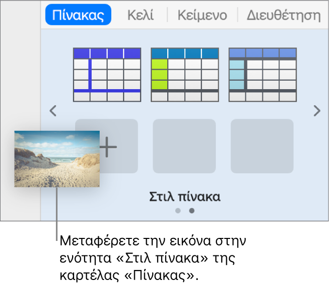 Μεταφορά εικόνας στα στιλ πινάκων για τη δημιουργία νέου στιλ.