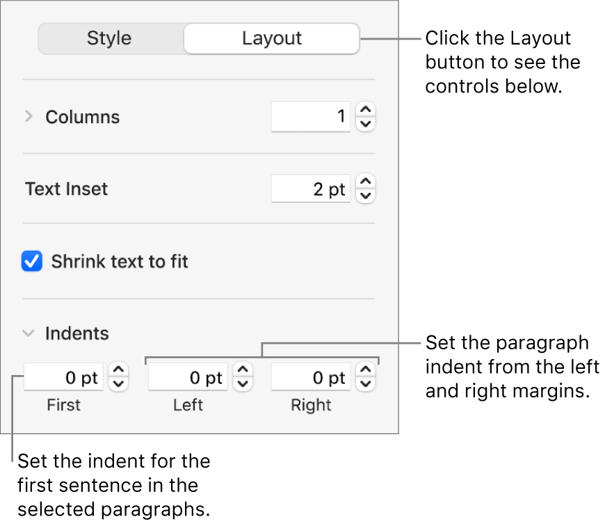 The Layout section of the Format sidebar showing controls for setting the first line indent and paragraph margins.