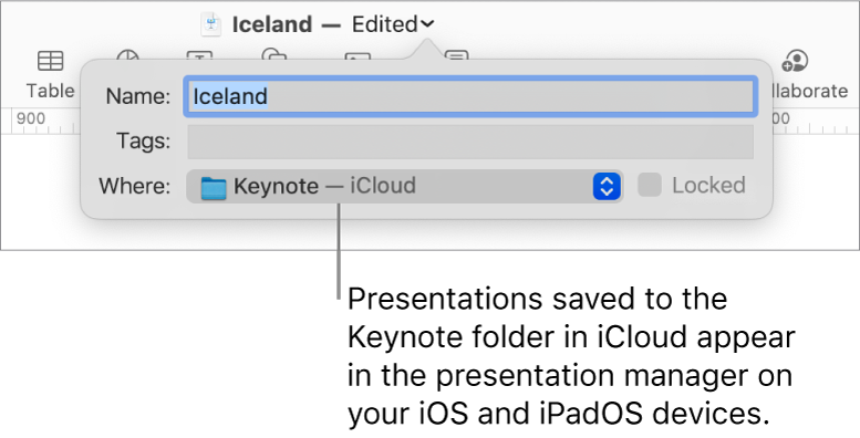 The Save dialogue for a presentation with Keynote — iCloud in the Where pop-up menu.