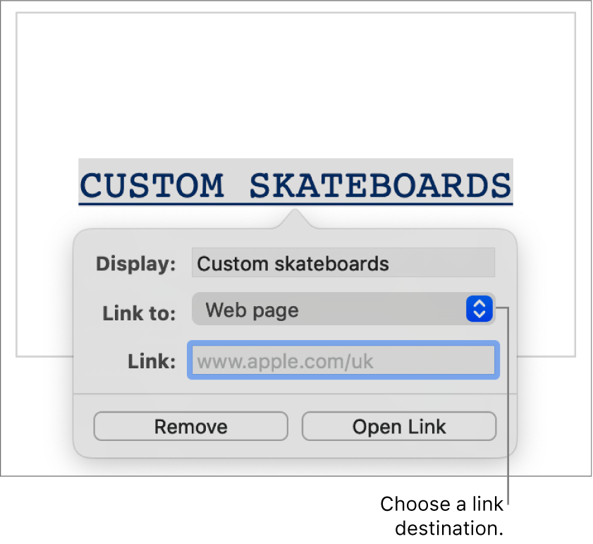 """The link settings with a Display field, """"Link to"""" pop-up menu (Web page is selected), and Link field. The Remove and Open Link buttons are at the bottom of the controls."""
