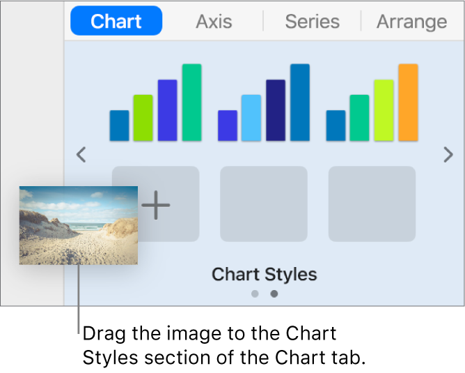 Dragging an image to the chart styles to create a new style.