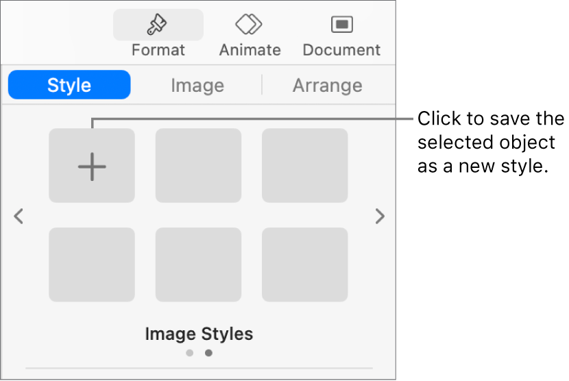 The Style tab of the Format sidebar with one text box style, a Create Style button to the right of it, and four empty style placeholders.