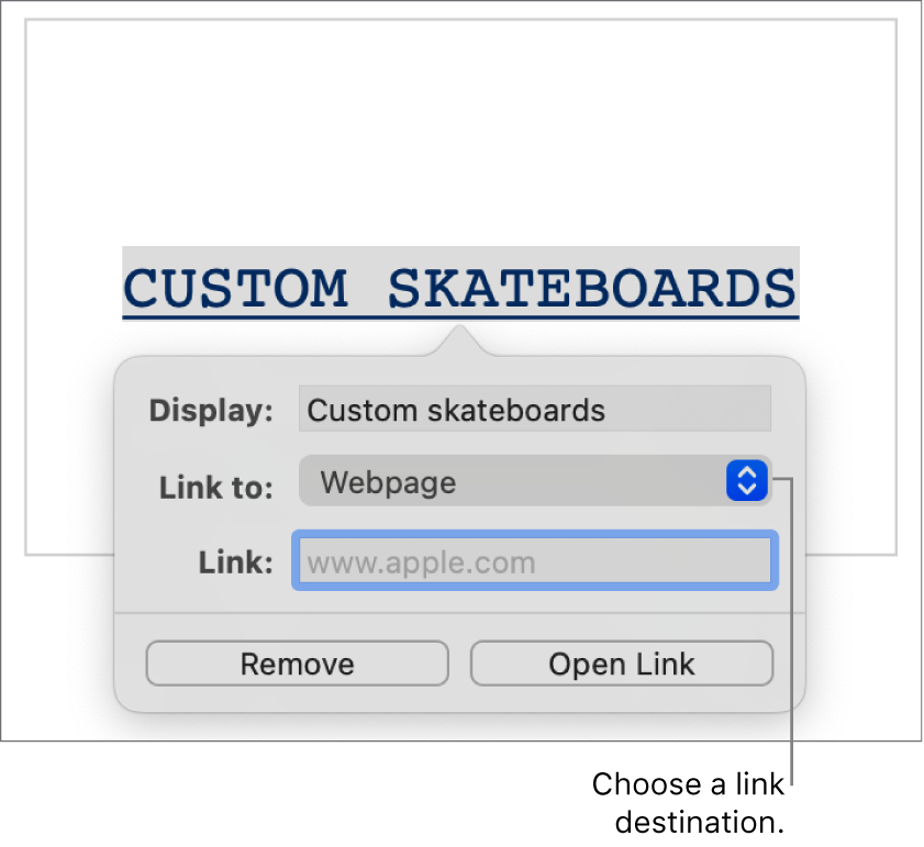 "The link settings with a Display field, ""Link to"" pop-up menu (Webpage is selected), and Link field. The Remove and Open Link buttons are at the bottom of the controls."