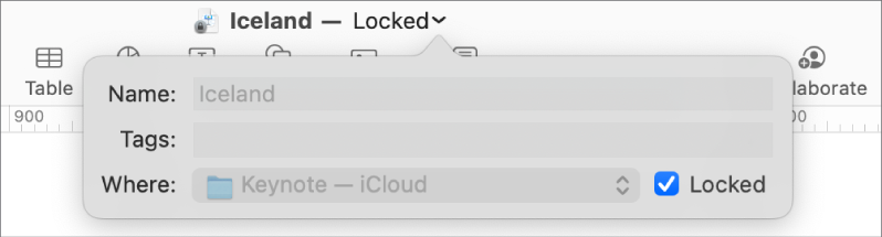 Pop-up for locking or unlocking a presentation.
