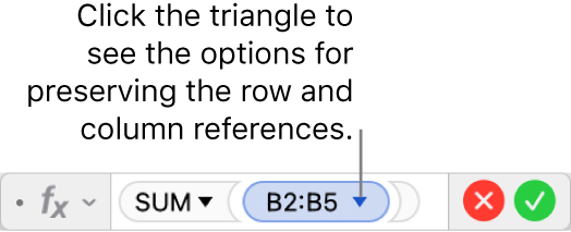 The Formula Editor showing how to preserve the row and column of a range references.