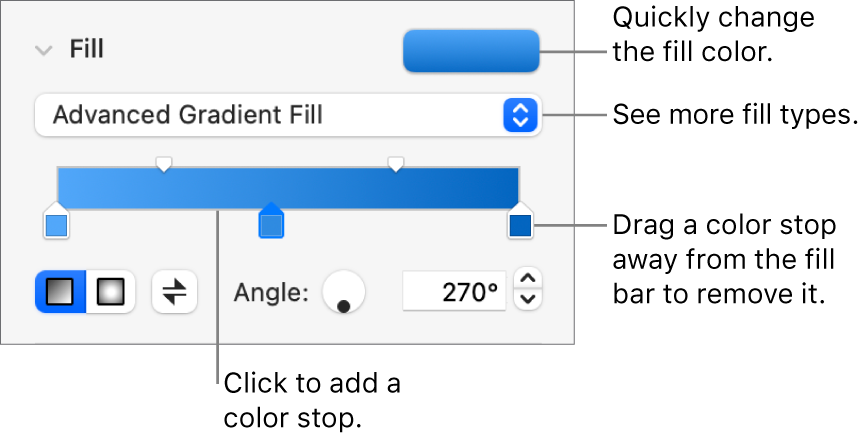 Controls for filling objects with colors.