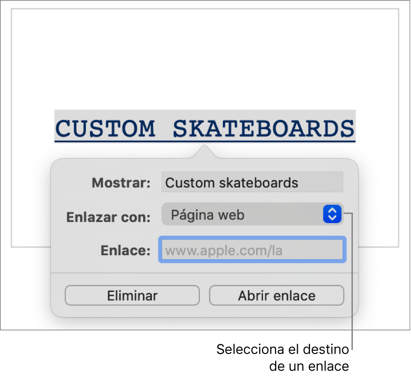"""La configuración de enlaces con un campo Mostrar, el menú desplegable """"Enlazar a"""" (""""Sitio web"""" está seleccionado) y el campo Enlace. Los botones """"Eliminar enlace"""" y """"Abrir enlace"""" se encuentran en la parte inferior de los controles."""
